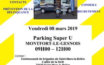 La Gendarmerie mobile présente ce vendredi 8 mars au Super U de Montfort